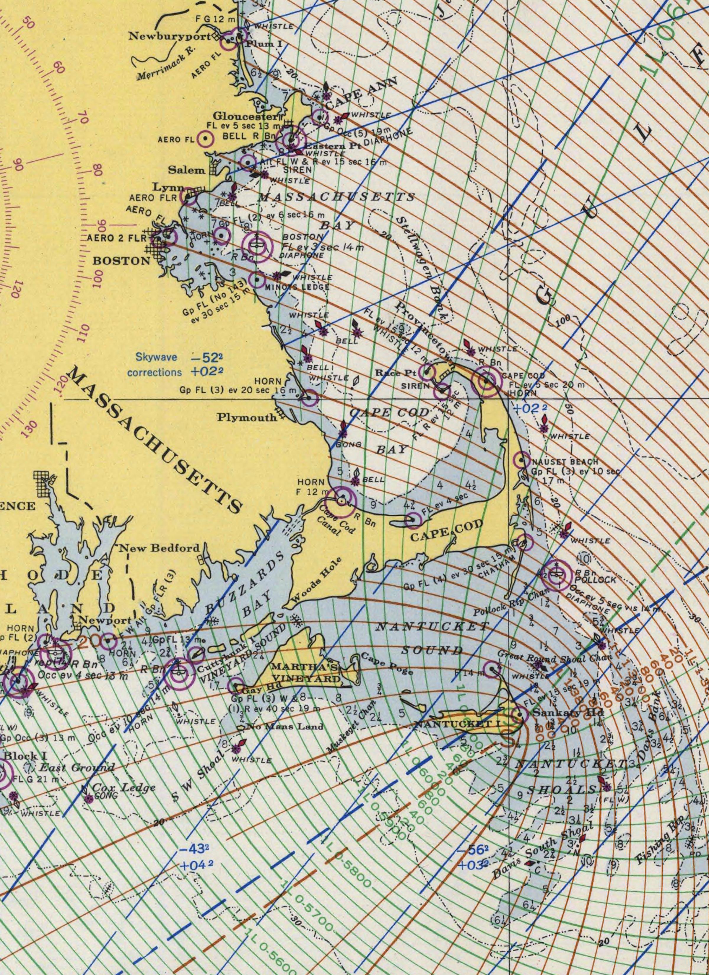 Detail Of Loran Chart Atlantic Coast Cape Sable To Cape Hatteras Chart 1000 L 1948